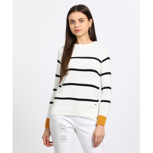 People White Striped Round Neck Casual Sweater