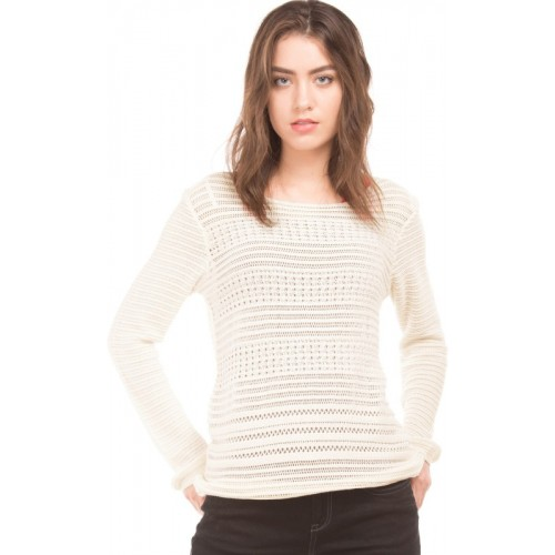 Flying Machine Self Design Round Neck Casual Women's White Sweater