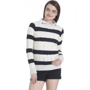 Vero Moda Woven Round Neck Casual Women White Sweater