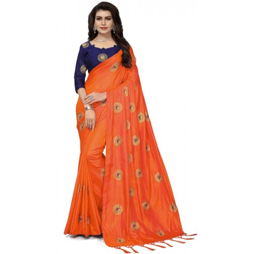 0ef27c5053 Buy Fashion Ritmo Embroidered Bollywood Silk Saree(Orange) online |  Looksgud.in
