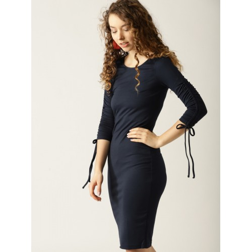 ESPRIT Women Navy Blue Solid Sheath Dress