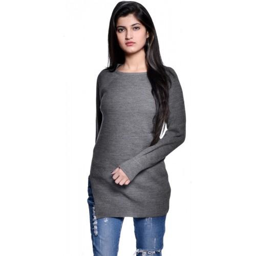 TSAVO Self Design Round Neck Casual Women Grey Sweater