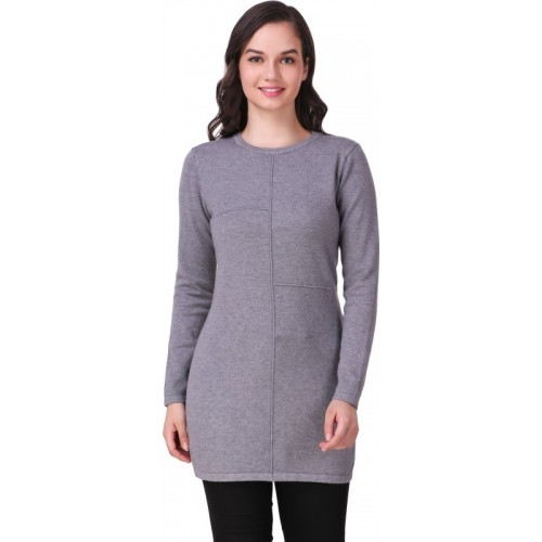 Buy Christy World Solid Round Neck Casual Women s Grey Sweater ... 9ffc523c7