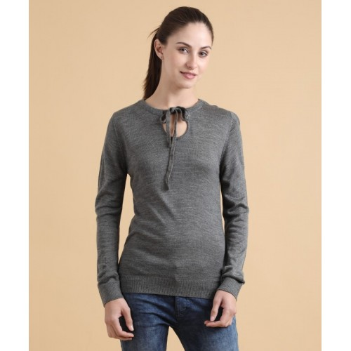 Park Avenue Solid NA Casual Women's Grey Sweater