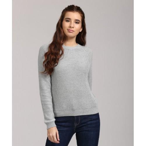 Aeropostale Self Design Round Neck Casual Women's Grey Sweater