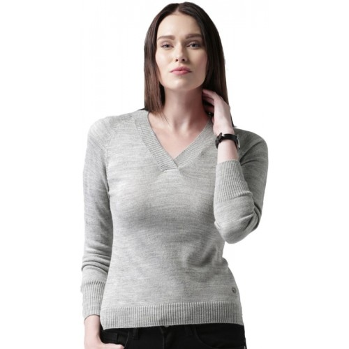 Mast & Harbour Solid V-neck Casual Women Grey Sweater