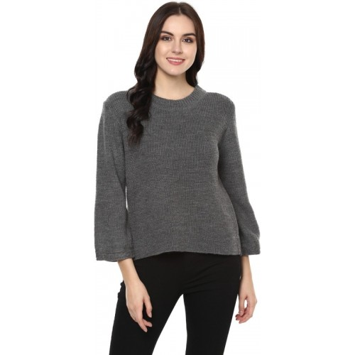 Street 9 Solid Round Neck Casual Women Grey Sweater