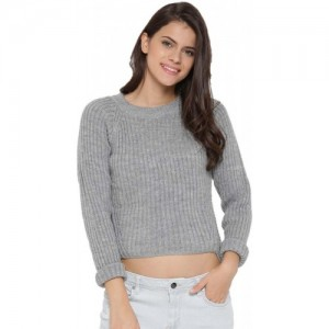 Dressberry Solid Round Neck Casual Women Grey Sweater
