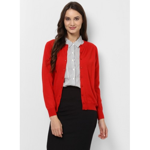 Monte Carlo Solid Round Neck Formal Women Red Sweater