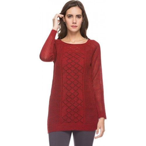 DJ&C by FBB Solid V-neck Casual Women Red Sweater