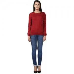 Park Avenue Solid Round Neck Casual Women Red Sweater