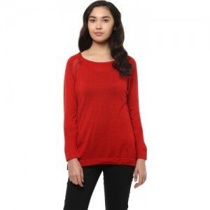 Allen Solly Solid Round Neck Casual Women Red Sweater