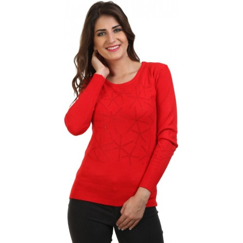 BuyNewTrend Self Design Round Neck Casual Women's Red Sweater