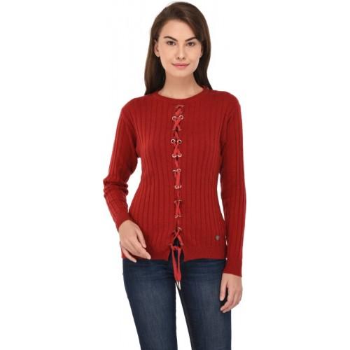 Leebonee Solid Round Neck Casual Women's Maroon, Red Sweater