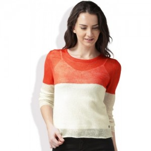 Mast & Harbour Solid Round Neck Casual Women Red, White Sweater