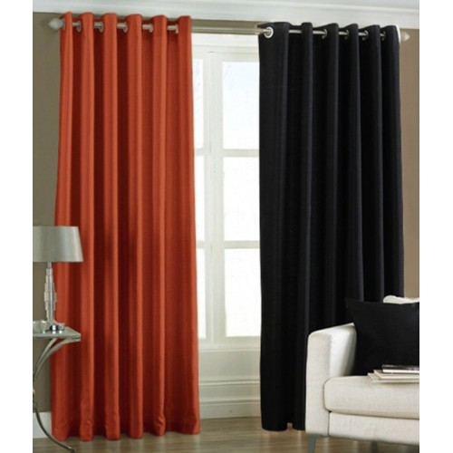 Panipat Textile Hub 152.4 cm (5 ft) Polyester Window Curtain (Pack Of 2)(Plain, Rust and Black)