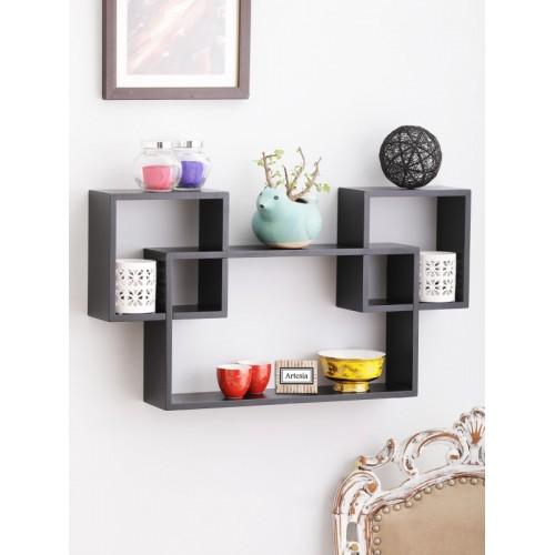 Artesia Wooden Wall Shelf(Number of Shelves - 3, Black)