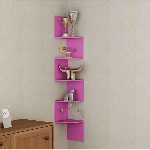 Usha Furniture Corner Mount Wall Shelves Zigzag Shape Rack Wooden Wall Shelf(Number of Shelves - 5, Pink)