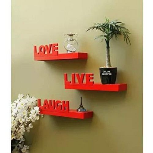 19b56f4c810 Buy Onlineshoppee Red Wall Shelves Live Love Laugh Wooden Wall Shelf(Number  of Shelves - 3