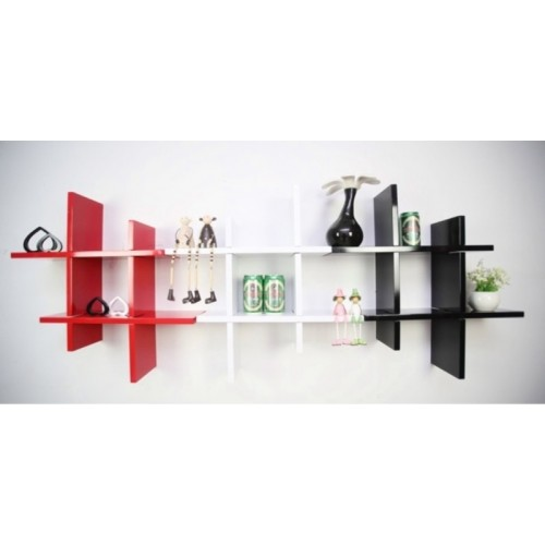 The New Look MDF Wall Shelf(Number of Shelves - 6, Black, White, Red)