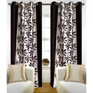 Red Hot 150 cm (5 ft) Polyester Window Curtain (Pack Of 2)(Floral, Brown)