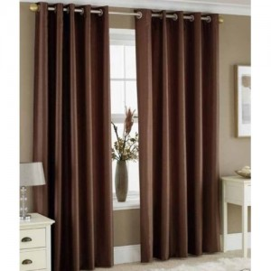 Panipat Textile Hub 152.4 cm (5 ft) Polyester Window Curtain (Pack Of 2)(Plain, Brown)