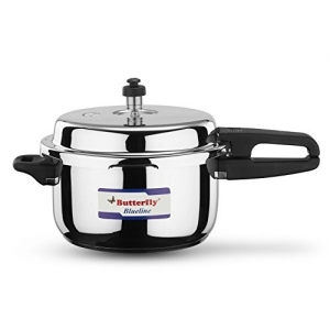 Butterfly Blue Line Silver Stainless Steel Pressure Cooker (5 Ltr)