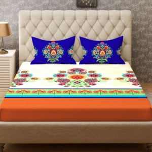 Stellar Home 104 TC Cotton Double Printed Bedsheet(Pack of 1, Multicolor)