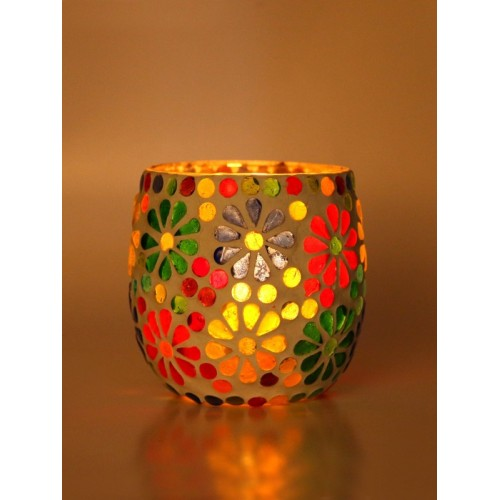 Afast New Trendy Designer Candle Tealight Holder Decorated With Colorful Chips & Beads For A Romantic & Magical Lighting Effects-VZ17 Glass 1 - Cup Tealight
