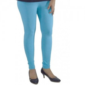 Areum SKY BLUE COTTON LYCRA WOMEN LEGGINGS ANKLE LENGTH