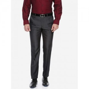 Park Avenue Men Grey Super Slim Fit Solid Formal Trousers
