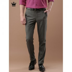Louis Philippe Men Grey Milano Slim Fit Solid Formal Trousers