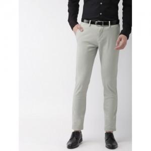 Arrow Men Grey Slim Fit Solid Formal Trousers