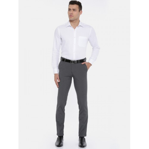 United Colors of Benetton Men Grey Regular Fit Striped Formal Trousers