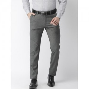 Arrow Men Grey Slim Fit Solid Formal Trousers