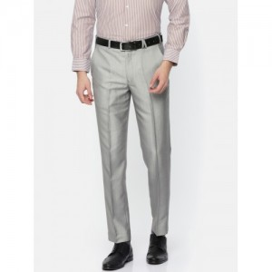 Park Avenue Men Grey Regular Fit Self Design Formal Trousers