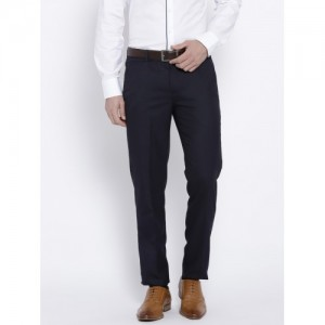 John Players Men Navy Blue Slim Fit Solid Formal Trousers