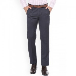 Peter England Men Blue Slim Fit Self Design Formal Trousers