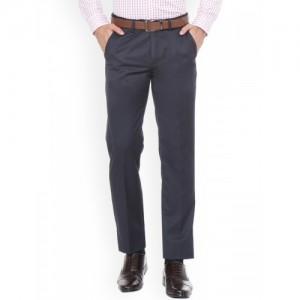 Peter England Men Blue Slim Fit Self Design Formal Trousers