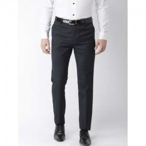 Arrow Men Navy Blue Tapered Fit Solid Formal Trousers