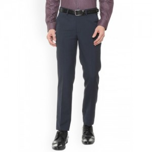 Peter England Men Navy Blue Slim Fit Solid Formal Trousers
