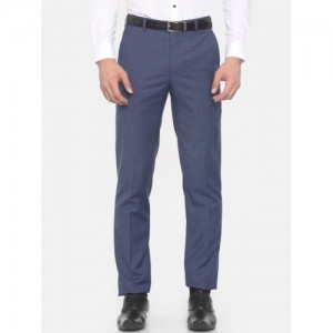 Raymond Men Blue Regular Fit Solid Formal Trousers