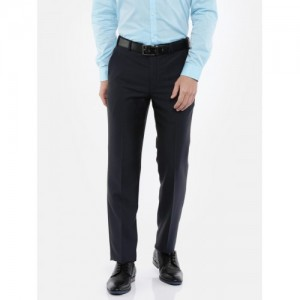 Park Avenue Men Blue Slim Fit Self Design Formal Trousers
