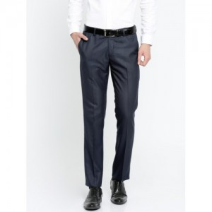 Arrow Men Navy Slim Fit Solid Formal Trousers