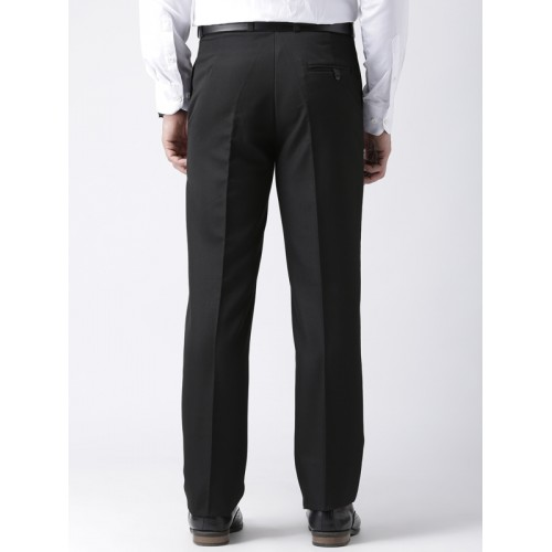 hangup trend Men Black Regular Fit Solid Formal Trousers
