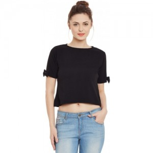 597b78f97d340d Buy Code Yellow Women s Black Plain Cross Neck Hosiery Top online ...