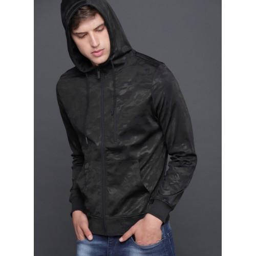 WROGN Black Printed Hooded Sweatshirt