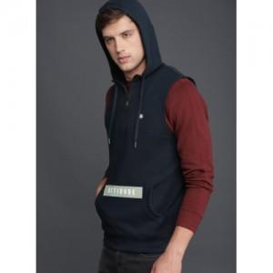 WROGN Navy Blue Cotton Solid Hooded Sweatshirt