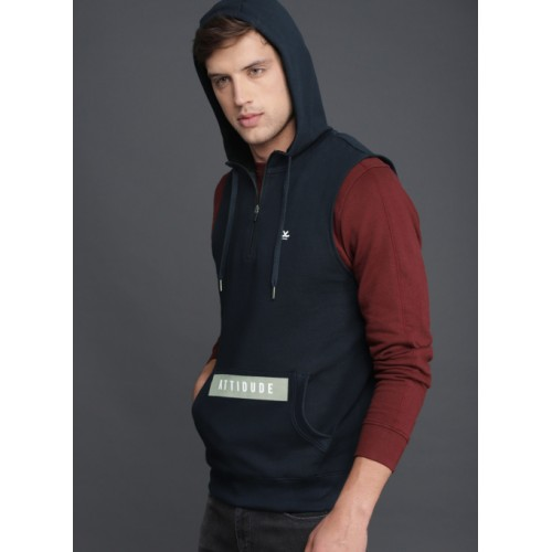 WROGN Navy Blue Cotton Solid Hooded Sweatshirt