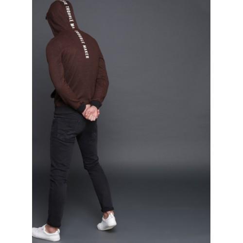 WROGN Maroon Solid Hooded Sweatshirt